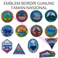 Emblem Logo Bordiran Baju Kaos Kemeja Taman Nasional Gunung Indonesia