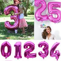 Balon foil huruf / balon foil angka besar 80cm pink polos