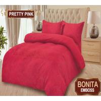 Bedcover Bonita Polos Emboss Flat King 180 x 200 cm - Pretty Pink