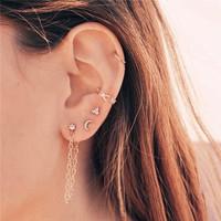Anting korea | ear clip tiny chain moon triangle | ECST028