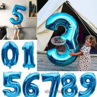 Balon foil huruf / balon foil angka besar 80cm biru polos