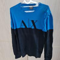 Baju Kaos Lengan Panjang Pria Armani Exchange Biru Hitam Size M