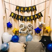 [PAKET] BIRTHDAY Set SIMPLE BLUE GOLD BANNER Dekorasi Backdrop Ultah