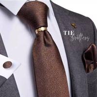 Dark brown set coklat dasi panjang, ring, pocket square, cufflinks