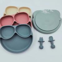 Baby Feeding 4in1 silikon, Set Peralatan Makan Bayi(Suction-NoSuction) - set no suction