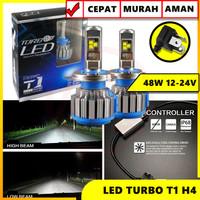 TURBO LED T1 LAMPU LED HEADLAMP HI LO TURBO H4 T1 50W SUPER BRIGHT