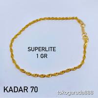 Rantai gelang tangan emas asli kadar 700 70% 18k superlite gold korea