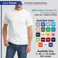 Baju Kaos Polos Oblong Putih Premium Cotton 24s Bukan Gildan / Combed - White, S