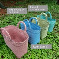Tas Anyaman Plastik / Tas Souvenir / Tas Hampers / Lurik Polos E17