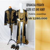 Sepasang baju pengantin bludru kutu baru murah /baju pengantin wani