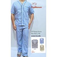 Baju Tidur Pria Panjang Murah/Piyama SWAN Pria Murah/Baju Tidur Murah - M, Biru Muda