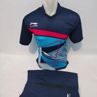 baju olahraga kaos setelan Lining badminton printing - dongker, M