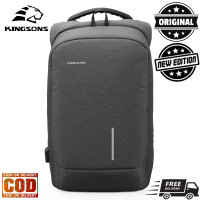 Kingsons Men Anti-Theft Backpack Tas Ransel Laptop Anti Maling Pria