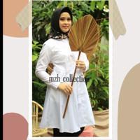 Tunik Putih Muslim Wanita Atasan Putih Kerja kantor Baju Putih