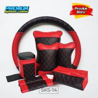 Set Bantal Mobil 5 in 1 plus Sarung Stir Mobil / Bantal Headrest Mobil