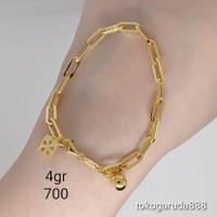 Rantai tangan gelang tali emas asli kadar 70% 700 75% 750 gold rosegol