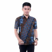 Kemeja batik pria modern hem batik jumbo baju anak laki laki seno biru