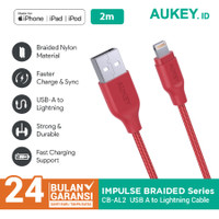 Aukey Cable 2M Lightning Braided MFI Apple Red - 500213