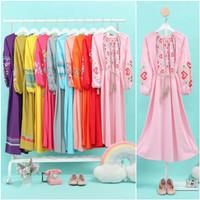 Pakaian Baju Fashion Gamis Muslim Anak Remaja Dewasa Perempuan Couple - pink, 8