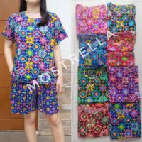Set Piyama Baju Tidur Wanita Batik Stelan Lengan Pendek Wajik-3