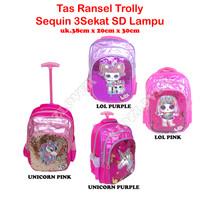 Tas Sequin Lampu Koper Ransel Anak Sekolah SD/TK Trolley Dorong Troli - Unicorn Purple