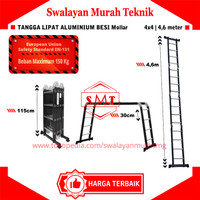 Tangga Aluminium Lipat 4,6 Meter Tangga Multi Purpose Aluminium 4,6 M