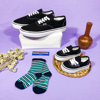 Sepatu Couple Dewasa dan Anak Model Vans Authentic Black White Tali