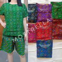 Set Piyama Baju Tidur Wanita Batik Stelan Lengan Pendek Wajik