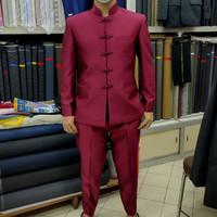 Baju Cheongsam Pria Merah Maroon