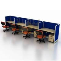 Meja Partisi 4 Configurasi / Meja Kerja 4 Orang / Meja Partisi Kantor
