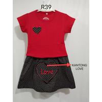 Chang Fashion Setelan Anak Perempuan (Logo Love) Untuk Usia 3-9 Tahun - Merah, 3-5 thn
