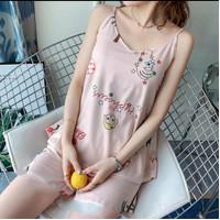 Setelan Baju Tidur Wanita Tank Top Hotpants - Pink Cherry, XL