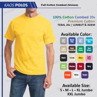 Baju Kaos Oblong Polos Cotton 24s T Shirt Original Kuning Kenari
