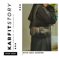 TERLARIS!!! Tas Selempang Wanita Import- Sling Bag Korea - Diva Gesper - Hitam
