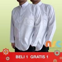 PROMO BELI 1 GRATIS 1! Baju Koko Warna Putih Katun Tangan Panjang