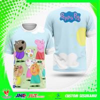 Baju Kaos Tshirt Pria Wanita Peppa Pig Karakter Fullprint Custom Art 3