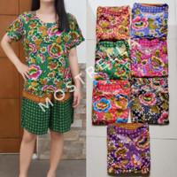 Set Piyama Baju Tidur Wanita Batik Stelan Lengan Pendek Bunga-2