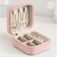 KOTAK PENYIMPANAN PERHIASAN JEWELRY BOX ANTING KALUNG CINCIN AKSESORIS - Pink