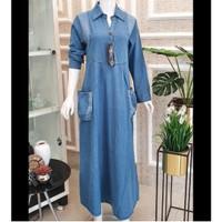Baju Gamis Wanita Jeans Denim Maxi Long Dress Muslim Kantong