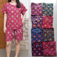 Set Piyama Baju Tidur Wanita Batik Stelan Lengan Pendek Wajik-1