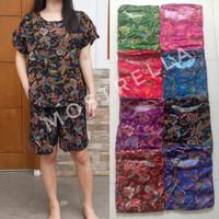 Set Piyama Baju Tidur Wanita Batik Stelan Lengan Pendek