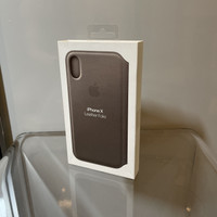 Apple iPhone X - Official Leather Folio Taupe Case Casing - ORIGINAL