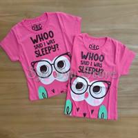 Baju Kaos Atasan Anak Perempuan Hewan Animal Burung Hantu Owl Hot Pink