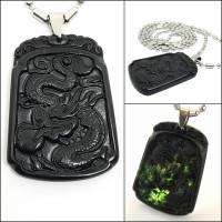 Kalung Pria Batu Natural Black Jade Model Naga