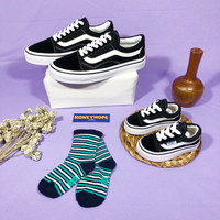 Sepatu Couple Dewasa dan Anak Model Vans Oldskool Black White Tali