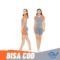 Setelan baju senam wanita jumbo atasan senam dan celana senam pendek - Orange, L