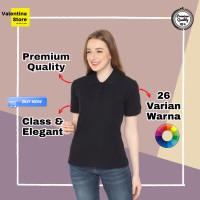 Kaos Kerah Polo Shirt Grosir Wanita Cewek Hitam Black
