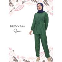 Baju Tidur Wanita Dewasa Rayon Terbaru BRPlain Polos One Set Pajamas - GREEN