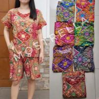 Set Piyama Baju Tidur Wanita Batik Stelan Lengan Pendek Bunga