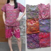 Set Piyama Baju Tidur Wanita Batik Stelan Lengan Pendek Wajik-2 - Hitam